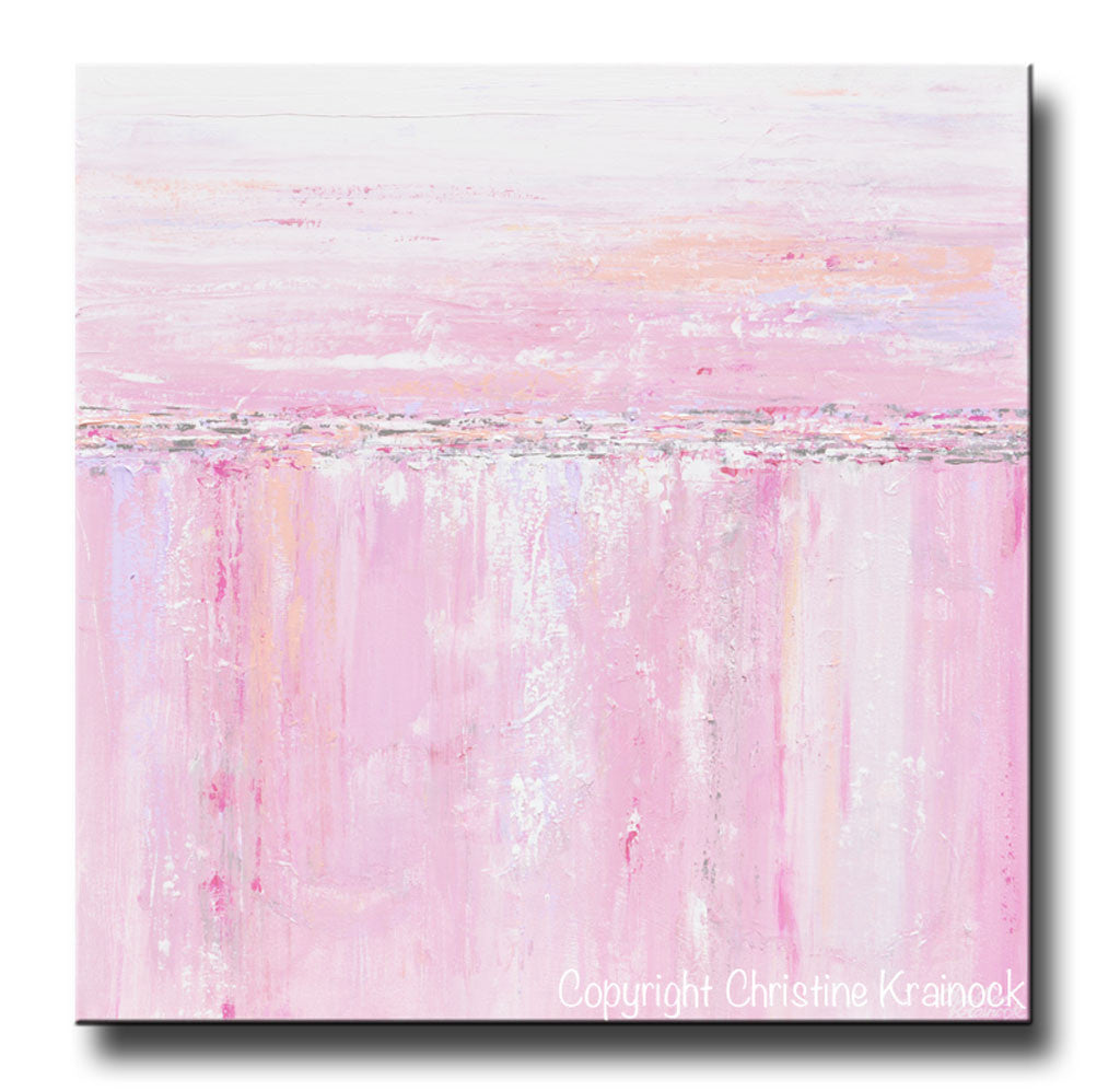 Sold Original Abstract Painting Pearl White Blue Wall Art: ORIGINAL Art Abstract Painting Pink White Grey Textured
