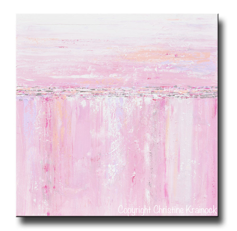 ORIGINAL Art Abstract Painting Pink White Grey Modern Textured Coastal Wall Art Home Decor - Christine Krainock Art - Contemporary Art by Christine - 3