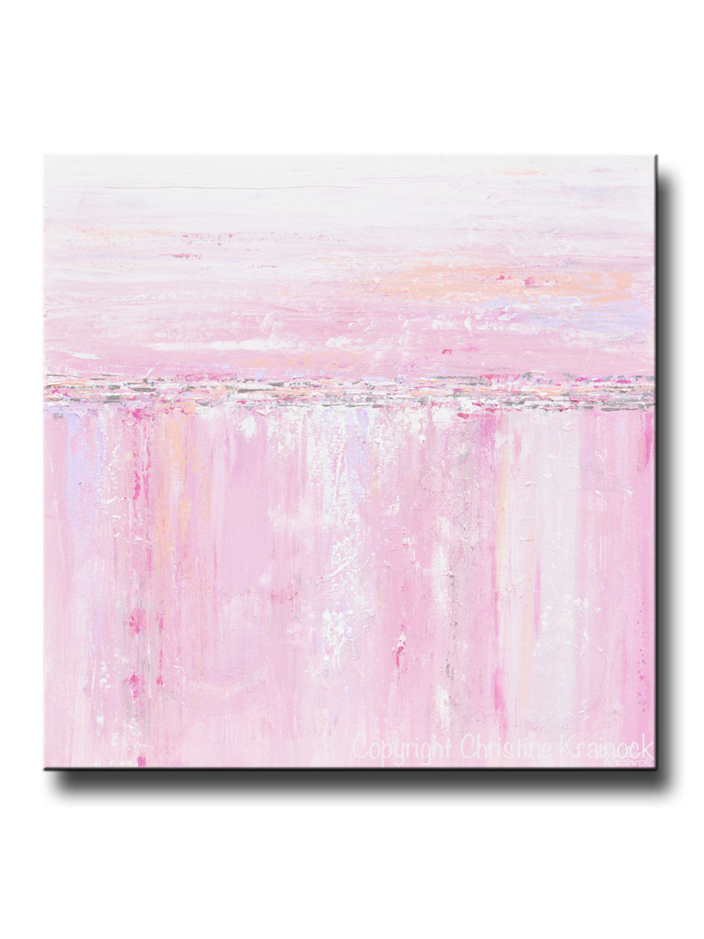 Giclee Print Art Abstract Painting Pink White Grey Canvas