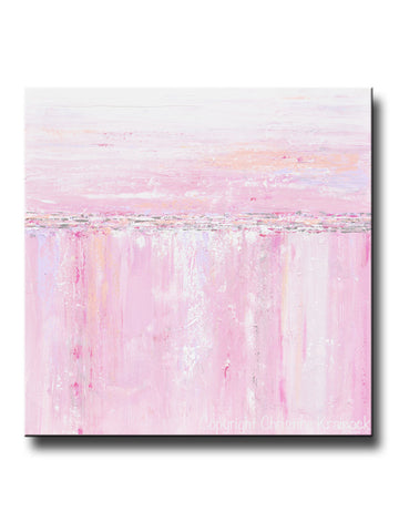 ORIGINAL Art Abstract Painting Pink White Grey Modern Textured Coastal Wall Art Home Decor - Christine Krainock Art - Contemporary Art by Christine - 1