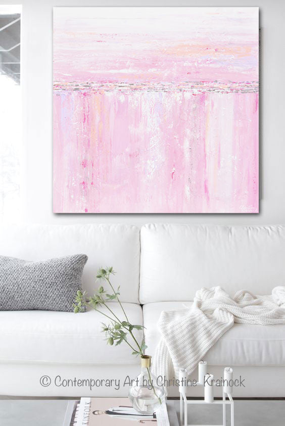 ORIGINAL Art Abstract Painting Pink White Grey Modern Textured Coastal Wall Art Home Decor - Christine Krainock Art - Contemporary Art by Christine - 2