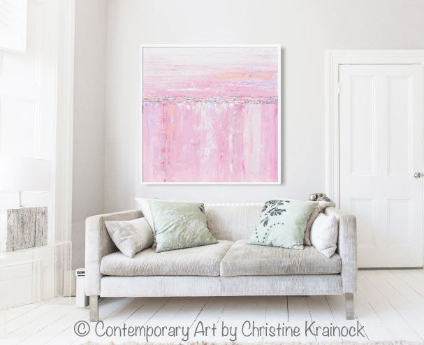 ORIGINAL Art Abstract Painting Pink White Grey Modern Textured Coastal Wall Art Home Decor - Christine Krainock Art - Contemporary Art by Christine - 4