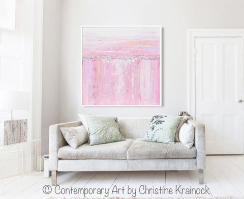 Giclee Print Art Abstract Painting Pink White Grey Canvas Wall Art ...