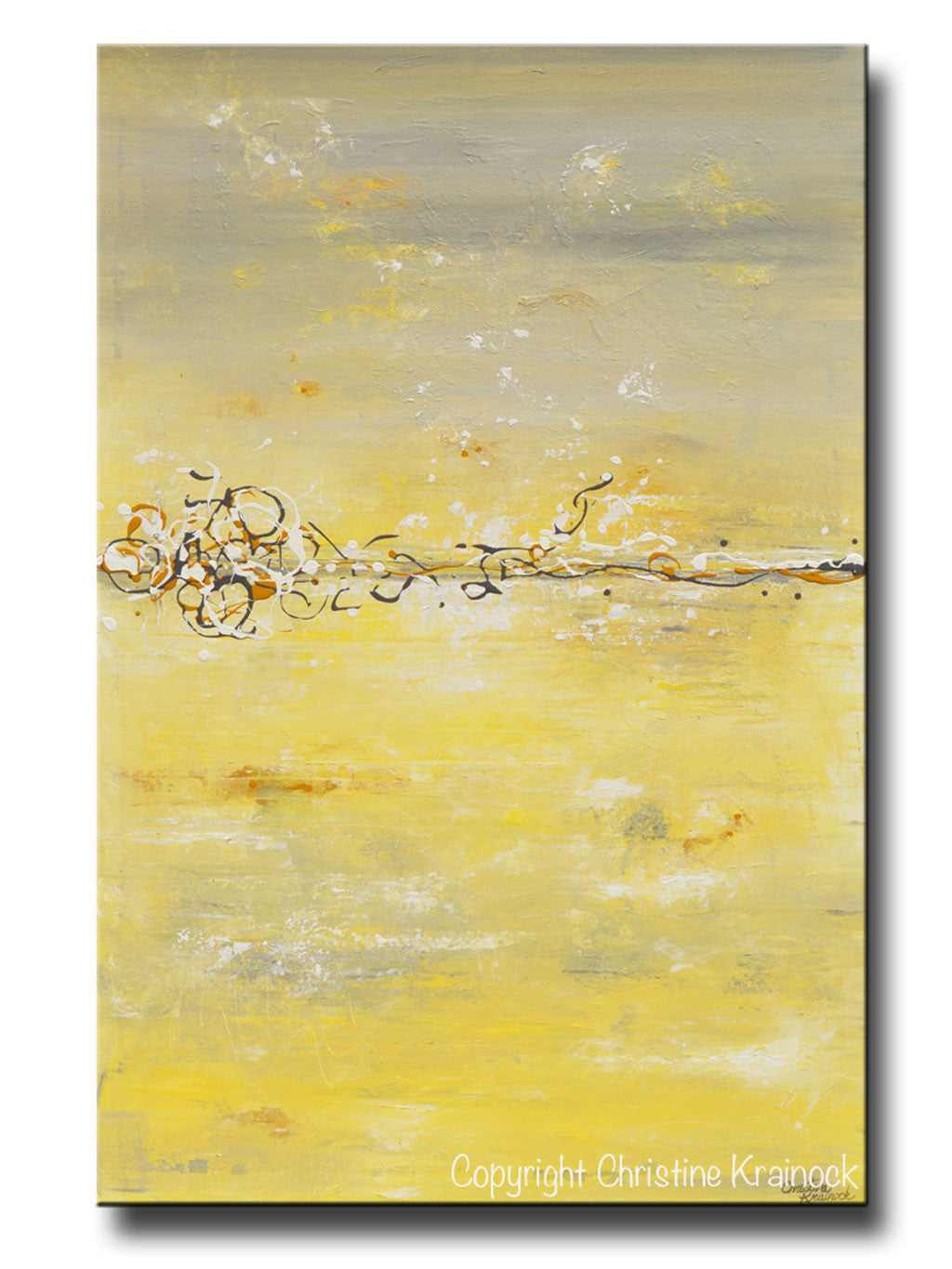ORIGINAL Art Yellow Grey Abstract Painting Modern Contemporary ...