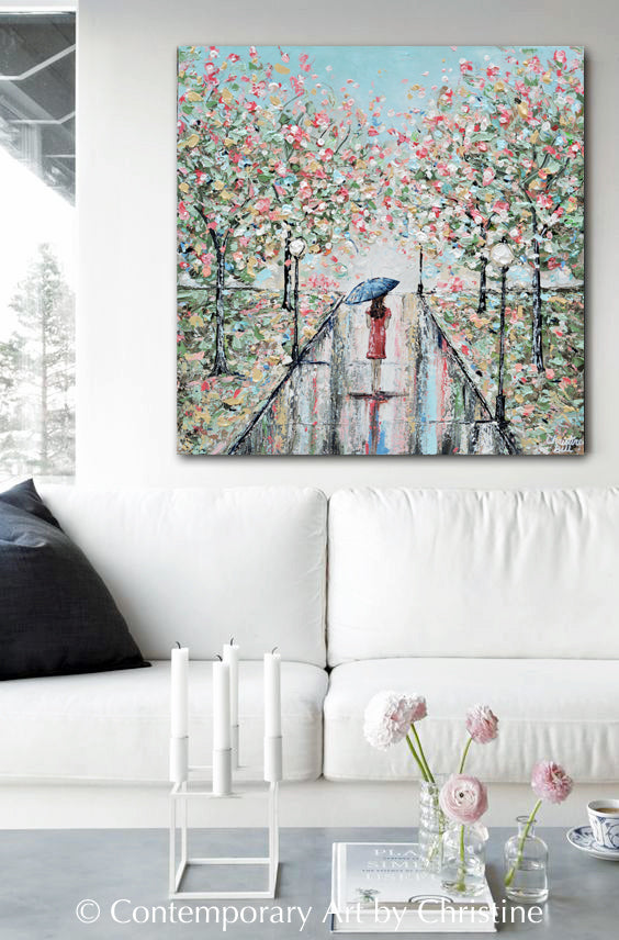 ORIGINAL Art Abstract Painting Girl w Umbrella Trees Landscape Textured Blue Green Pnk Wall Art 24x24""