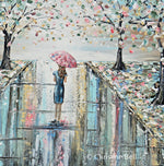 "GICLEE PRINT ""Love the Journey"" Art Abstract Painting Woman Umbrella Spring Trees Landscape"