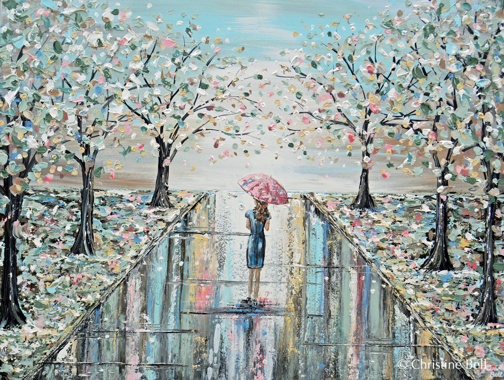 ORIGINAL Art Abstract Painting Woman Umbrella Spring Trees Landscape Textured Blue Green Wall Art Decor 40x30""