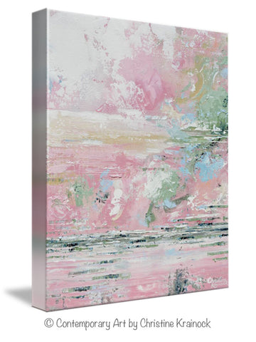 Giclee Print Art Abstract Pink White Painting Modern Wall Art Decor ...