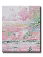 ORIGINAL Art Abstract Painting Pink White Grey Blue Coastal Wall Art Decor PETITE 20x24""