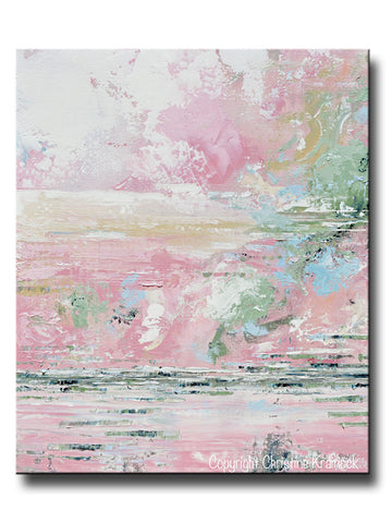 GICLEE PRINT Art Abstract Painting Pink White Grey Blue Coastal Canvas Wall Art Contemporary Home Decor