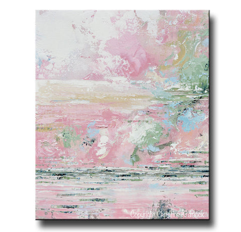 Giclee Print Art Abstract Pink White Painting Modern Wall Art