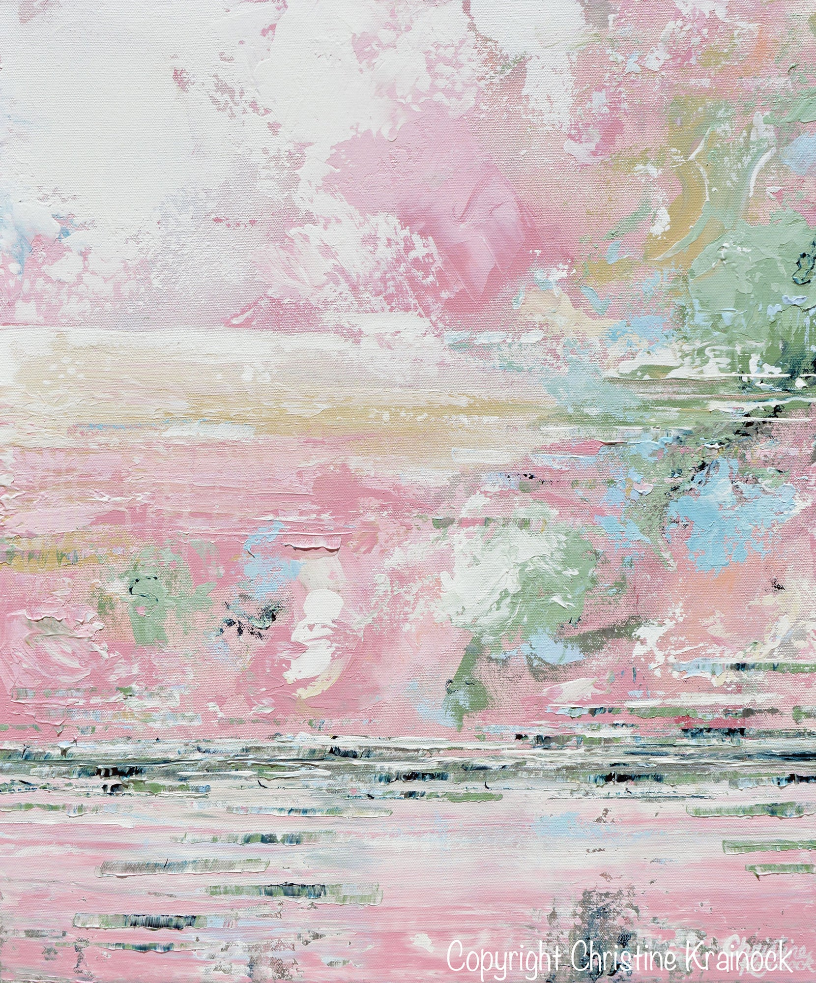 Giclee Print Art Abstract Pink White