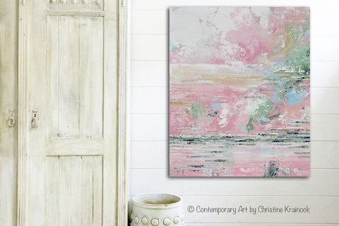 Giclee Print Art Abstract Pink White Painting Modern Wall Art ...