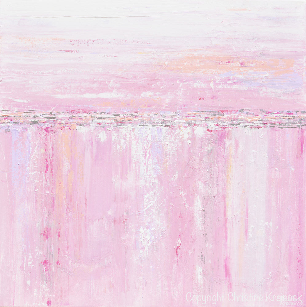 ORIGINAL Art Abstract Painting Pink White Grey Modern Textured Coastal Wall Art Home Decor - Christine Krainock Art - Contemporary Art by Christine - 6