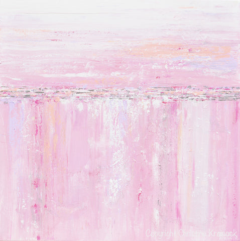 Giclee print art abstract painting pink white grey canvas for Pink wall art