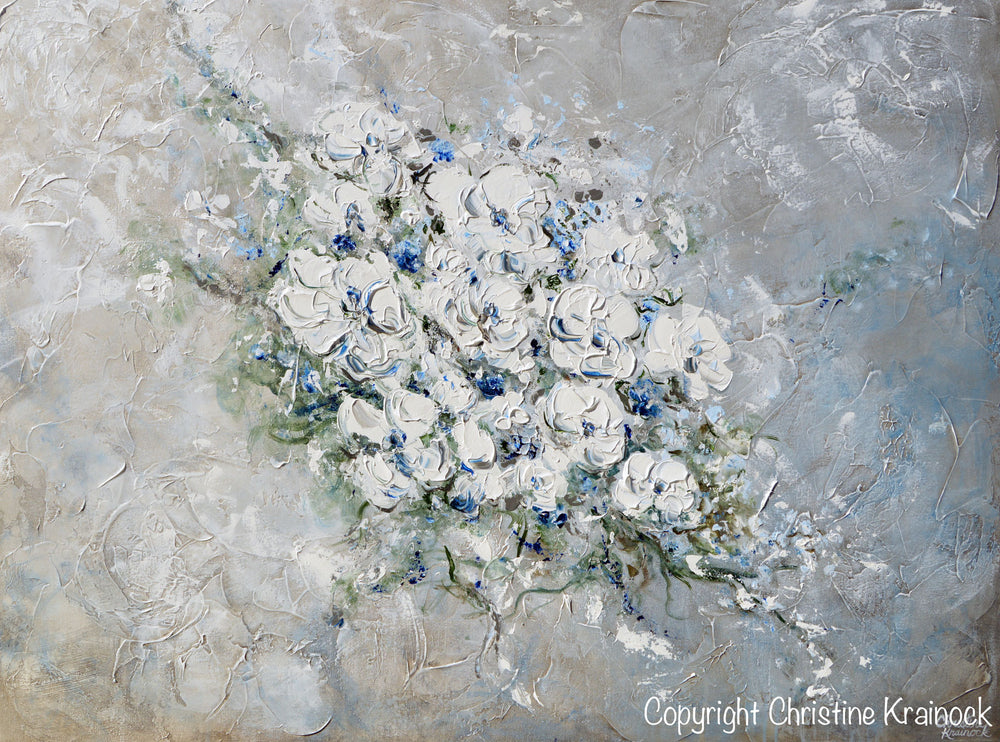 ORIGINAL Art Abstract Floral Painting White Flowers Bouquet Coastal Grey Blue Wall Art - Christine Krainock Art - Contemporary Art by Christine - 7
