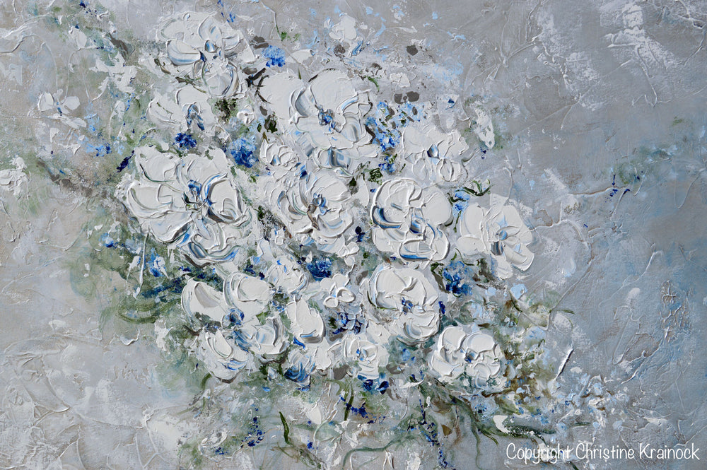 ORIGINAL Art Abstract Floral Painting White Flowers Bouquet Coastal Grey Blue Wall Art - Christine Krainock Art - Contemporary Art by Christine - 6