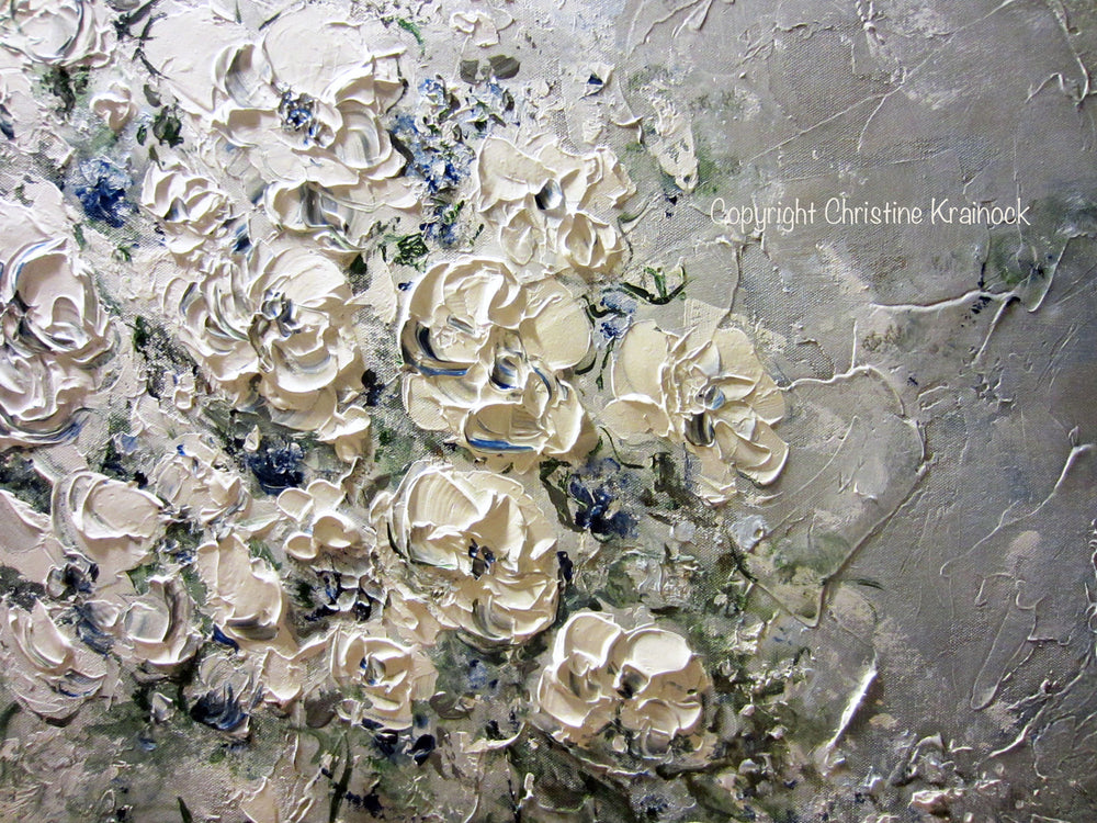 ORIGINAL Art Abstract Floral Painting White Flowers Bouquet Coastal Grey Blue Wall Art - Christine Krainock Art - Contemporary Art by Christine - 5