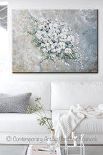 ORIGINAL Art Abstract Floral Painting White Flowers Bouquet Coastal Grey Blue Wall Art - Christine Krainock Art - Contemporary Art by Christine - 2