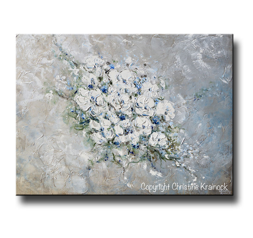 ORIGINAL Art Abstract Floral Painting White Flowers Bouquet Coastal Grey Blue Wall Art - Christine Krainock Art - Contemporary Art by Christine - 3