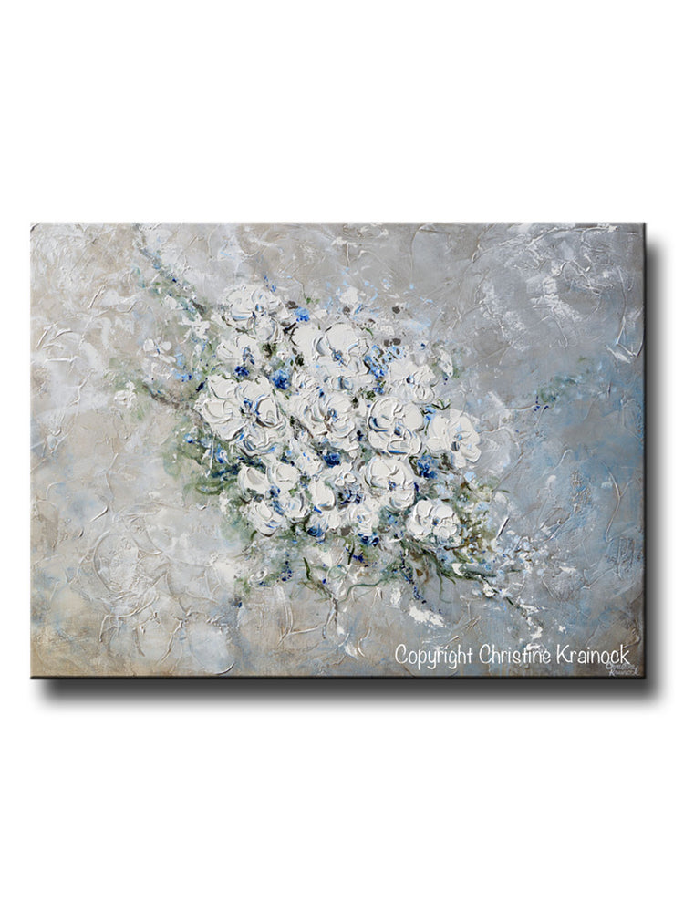 ORIGINAL Art Abstract Floral Painting White Flowers Bouquet Coastal Grey Blue Wall Art