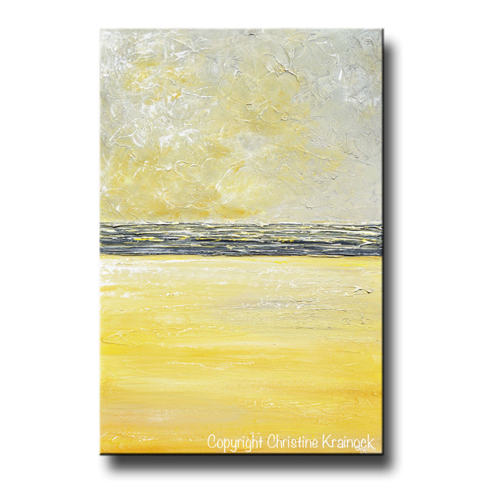 GICLEE PRINT Art Yellow Grey Abstract Painting Modern Textured Coastal Gold Wall Decor Canvas