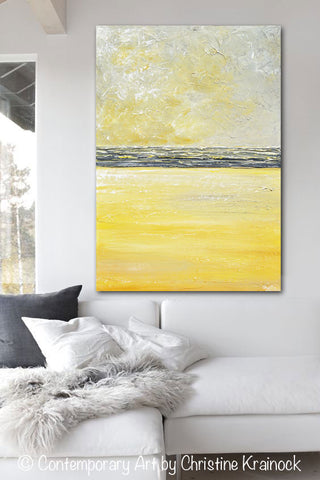 ... GICLEE PRINT Art Yellow Grey Abstract Painting Modern Textured Coastal  Gold Wall Decor Canvas ...