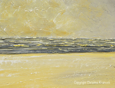 ORIGINAL Art Yellow Grey Abstract Painting Modern Textured Coastal ...