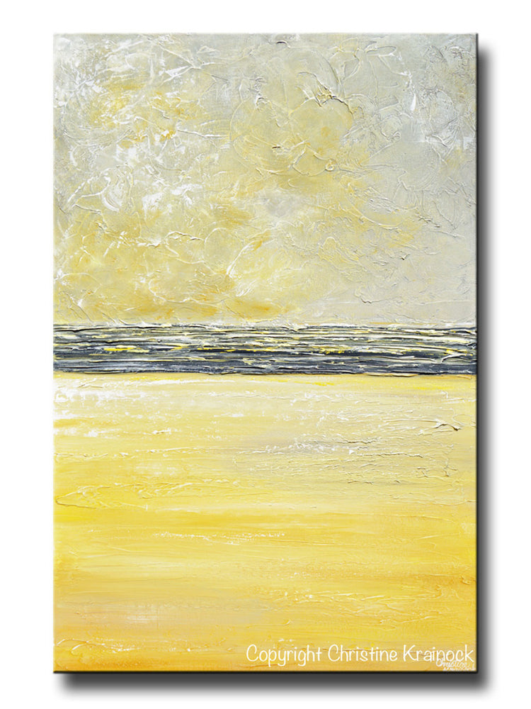 ORIGINAL Art Yellow Grey Abstract Painting Modern Textured Coastal Gold Wall Decor