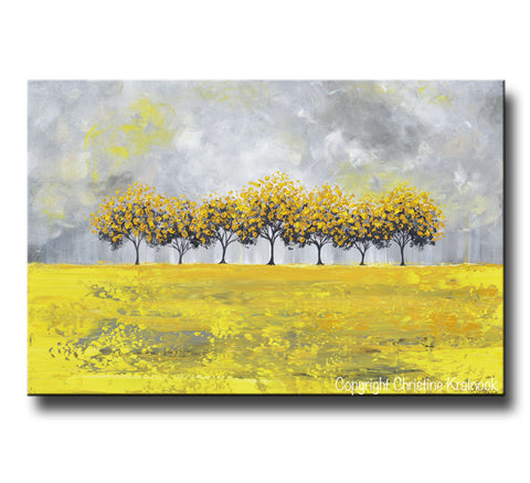 Charming GICLEE PRINT Art Abstract Yellow Grey Painting Tree Landscape Canvas Prints  Nature Rain Gold