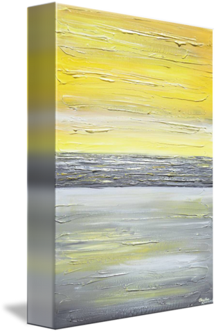 GICLEE PRINT Art Abstract Yellow Grey Painting Vertical Wall Art ...