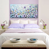 GICLEE PRINT Art Abstract Painting Purple Blue Flowers Poppies Mint Green Lavender Light Blue Poppy - Christine Krainock Art - Contemporary Art by Christine - 4