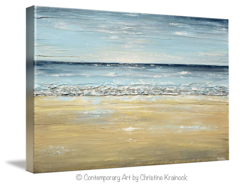 GICLEE PRINT Art Abstract Seascape Painting Beach Ocean Blue Beige White LARGE Canvas Coastal Decor - Christine Krainock Art - Contemporary Art by Christine - 7