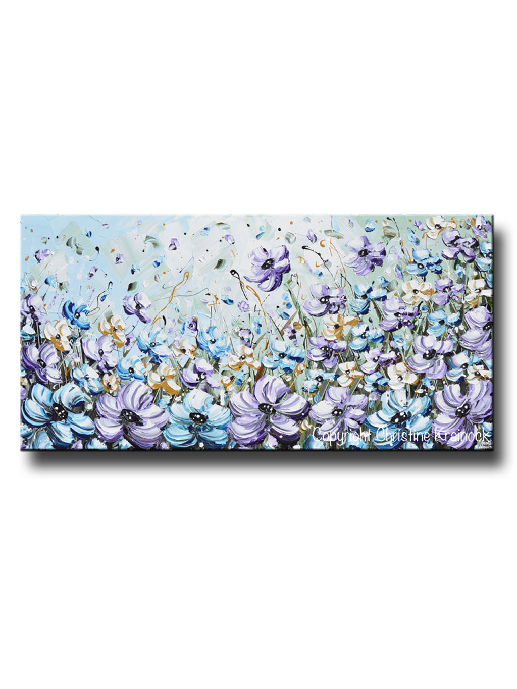 Giclee print art abstract painting purple blue flowers poppies mint gr contemporary art by - Light blue and mint green ...