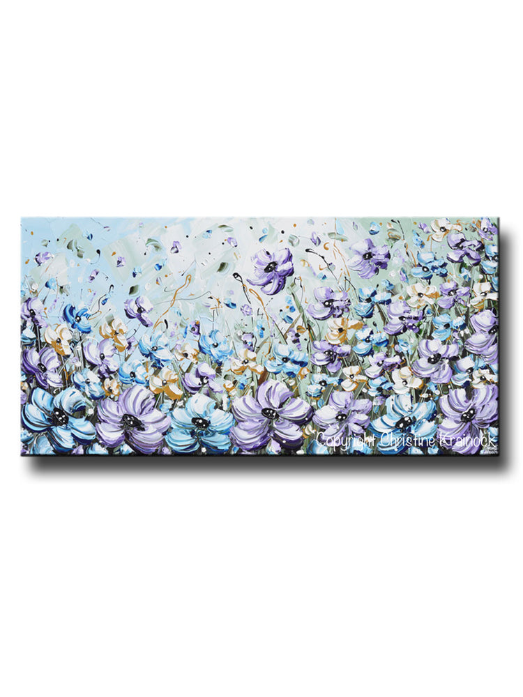 GICLEE PRINT Art Abstract Painting Purple Blue Flowers Poppies Mint Green Lavender Light Blue Poppy