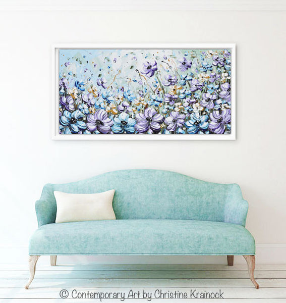GICLEE PRINT Art Abstract Painting Purple Blue Flowers