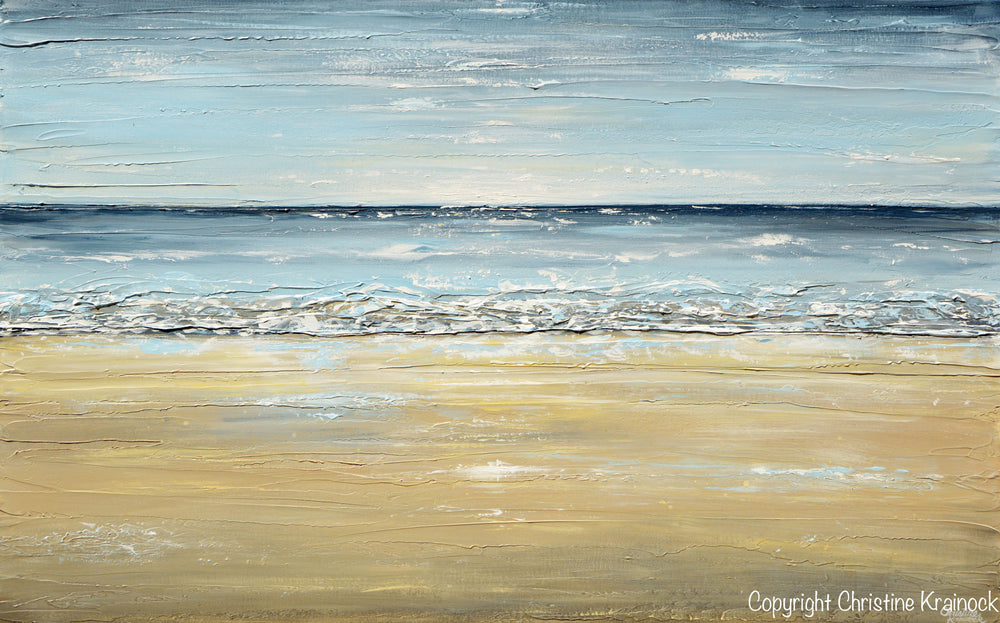 GICLEE PRINT Art Abstract Seascape Painting Beach Ocean Blue Beige White LARGE Canvas Coastal Decor - Christine Krainock Art - Contemporary Art by Christine - 6
