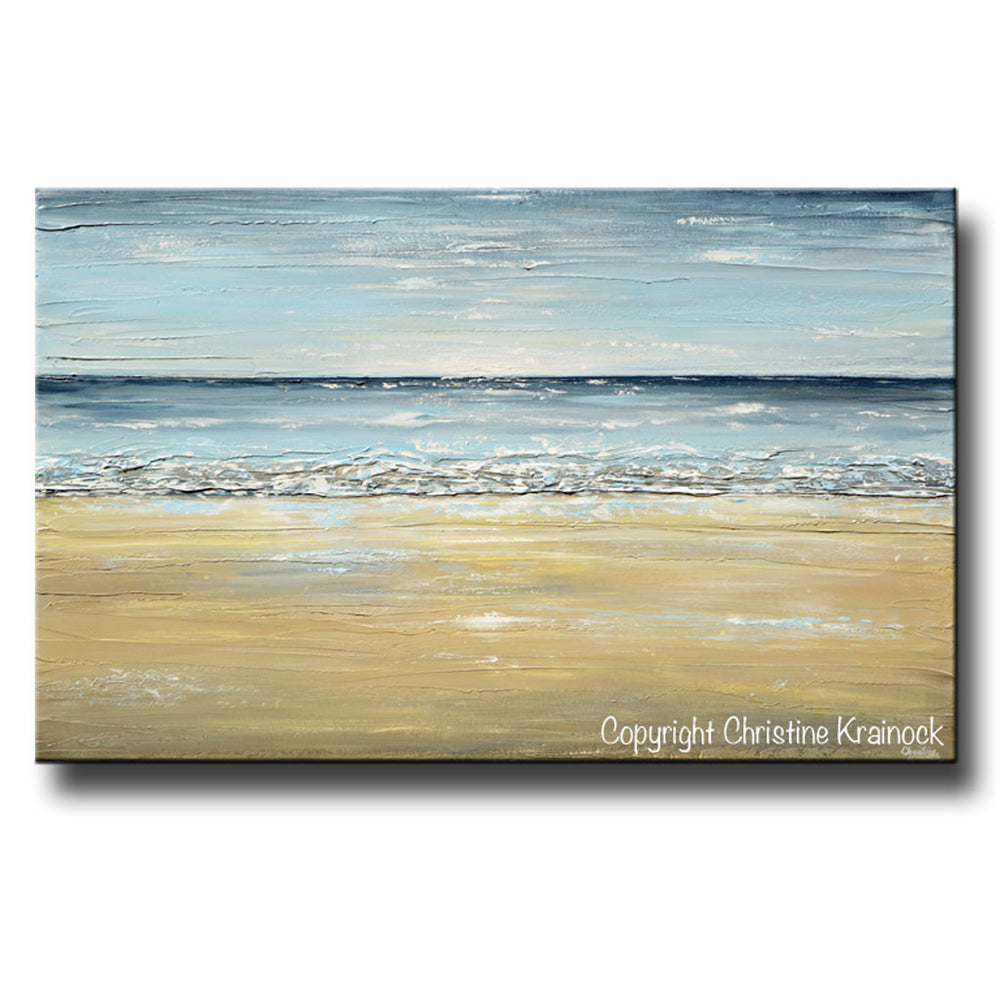 GICLEE PRINT Art Abstract Seascape Painting Beach Ocean Blue Beige White LARGE Canvas Coastal Decor - Christine Krainock Art - Contemporary Art by Christine - 5