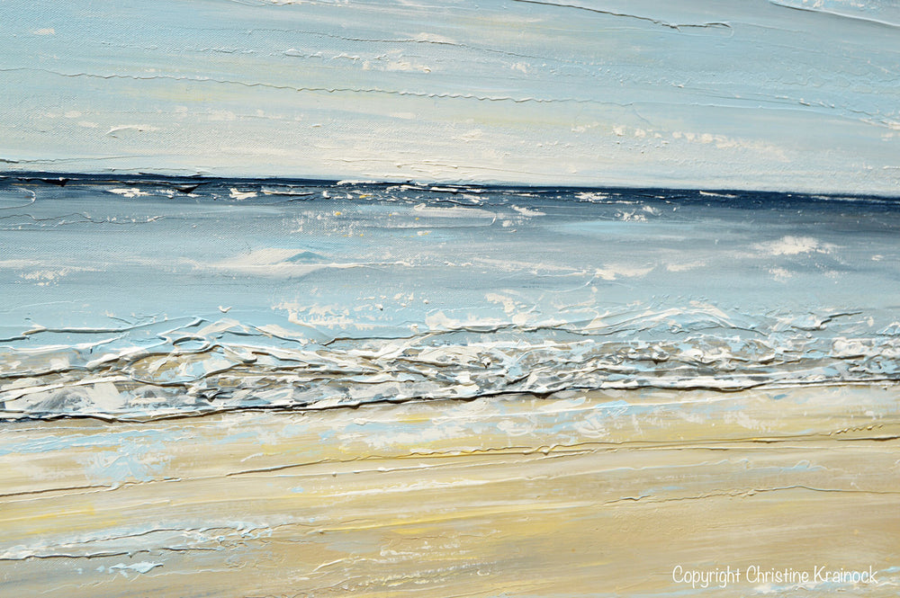 GICLEE PRINT Art Abstract Seascape Painting Beach Ocean Blue Beige White LARGE Canvas Coastal Decor - Christine Krainock Art - Contemporary Art by Christine - 3