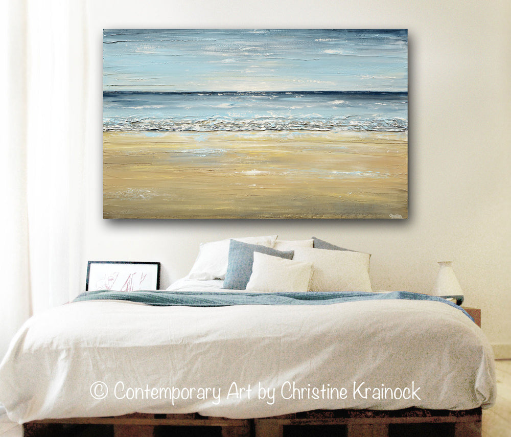 ORIGINAL Art Abstract Seascape Painting Beach Ocean Blue Beige White LARGE Textured Modern Coastal Decor - Christine Krainock Art - Contemporary Art by Christine - 4