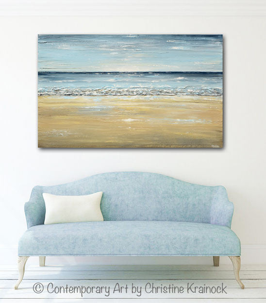 ORIGINAL Art Abstract Seascape Painting Beach Ocean Blue Beige White LARGE Textured Modern Coastal Decor - Christine Krainock Art - Contemporary Art by Christine - 2