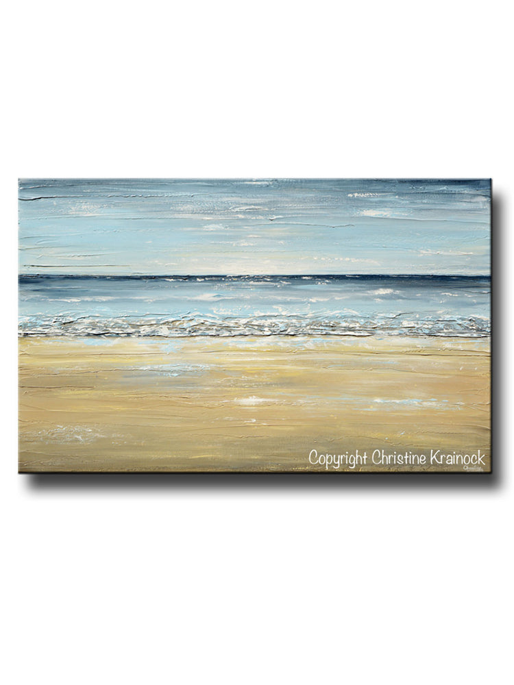ORIGINAL Art Abstract Seascape Painting Beach Ocean Blue Beige White LARGE Textured Coastal Decor