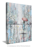GICLEE PRINT Art Abstract Painting Girl Umbrella Walking Rain Blue Grey White Pink Wall Art Home Decor