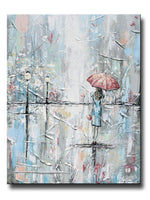 ORIGINAL Art Abstract Painting Girl w Umbrella Walking in Rain Textured Blue Grey White Wall Art Home Decor 24x30""