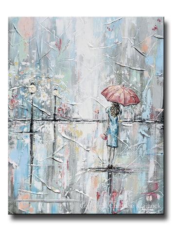 GICLEE PRINT Art Abstract Painting Girl w Umbrella Walking in Rain Blue Grey White Pink Wall Art Home Decor