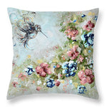 Hummingbird Throw Pillow, Floral Pillow, Nature Home Decor, Blue Pink