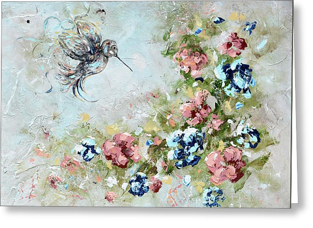 Hummingbird Bringing Light And Love - Greeting Card