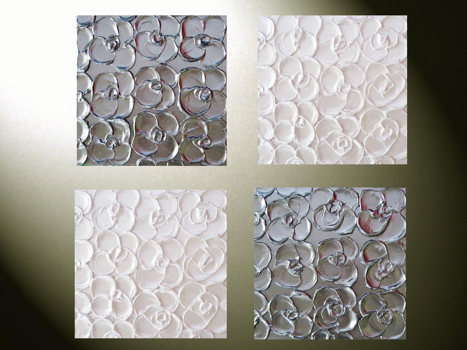 Custom art abstract paintings metallic sculpted wall decor set of 4 1 contemporary art by - Wall decoration with pearls ...