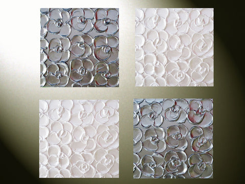 Custom Art Abstract Paintings Metallic Sculpted Wall Decor Set of 4 -12x12 Home Decor Gift Textured Silver Pearl White Flowers MADE TO ORDER - Christine Krainock Art - Contemporary Art by Christine - 1