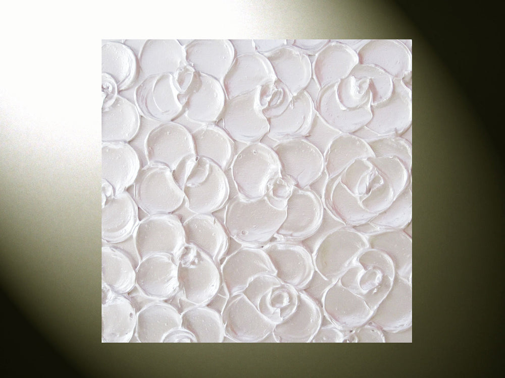 CUSTOM Original Abstract Textured Painting Sculpted Art Modern Floral, White Pearl Flowers, Set of 3 - Christine Krainock Art - Contemporary Art by Christine - 2